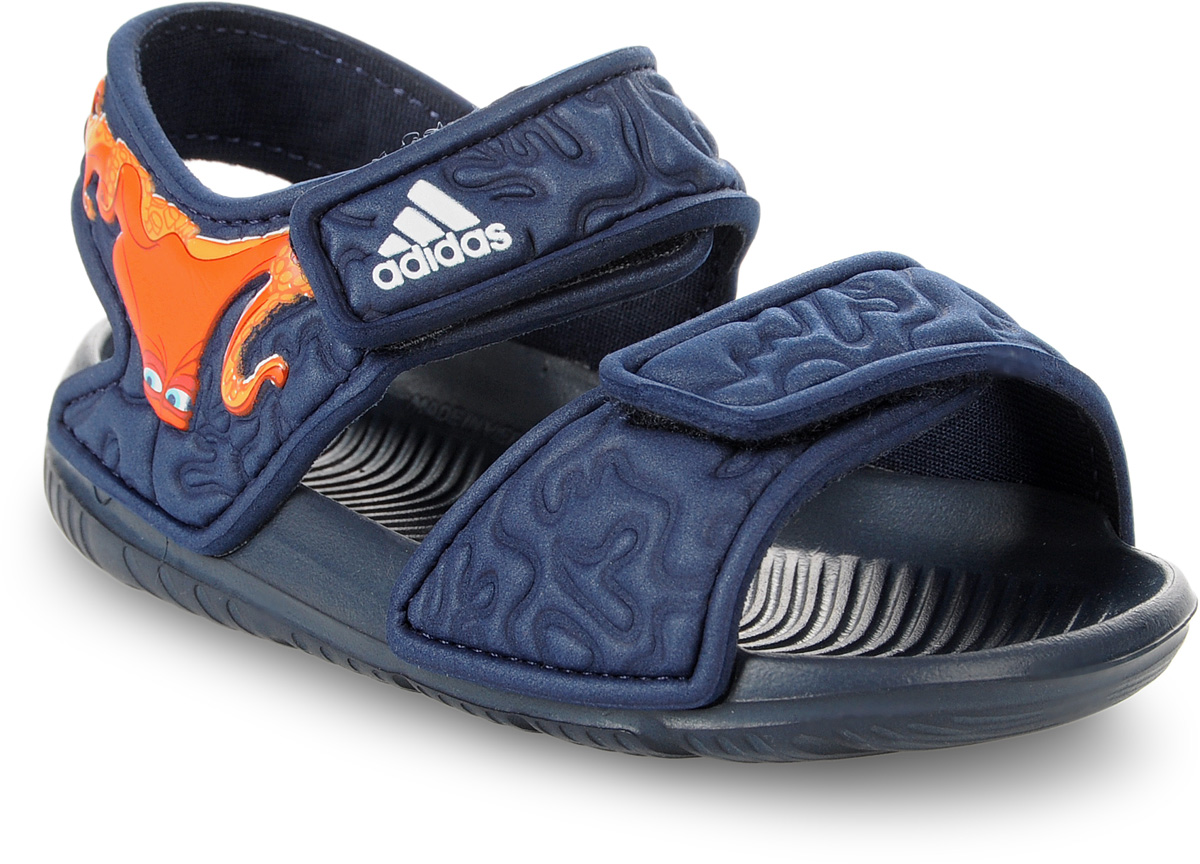 Сандалии для мальчика adidas Disney Nemo AltaSwi, цвет: темно-синий. BA9328. Размер 24BA9328В этих очаровательных пляжных сандаликах с осьминогом Хэнком из мультфильма В поисках Дори малышам будет удобно играть у бассейна или на берегу моря. Текстильная подкладка обеспечивает комфорт маленьким ножкам, а мягкие ремешки на липучке облегчают надевание и снимание.