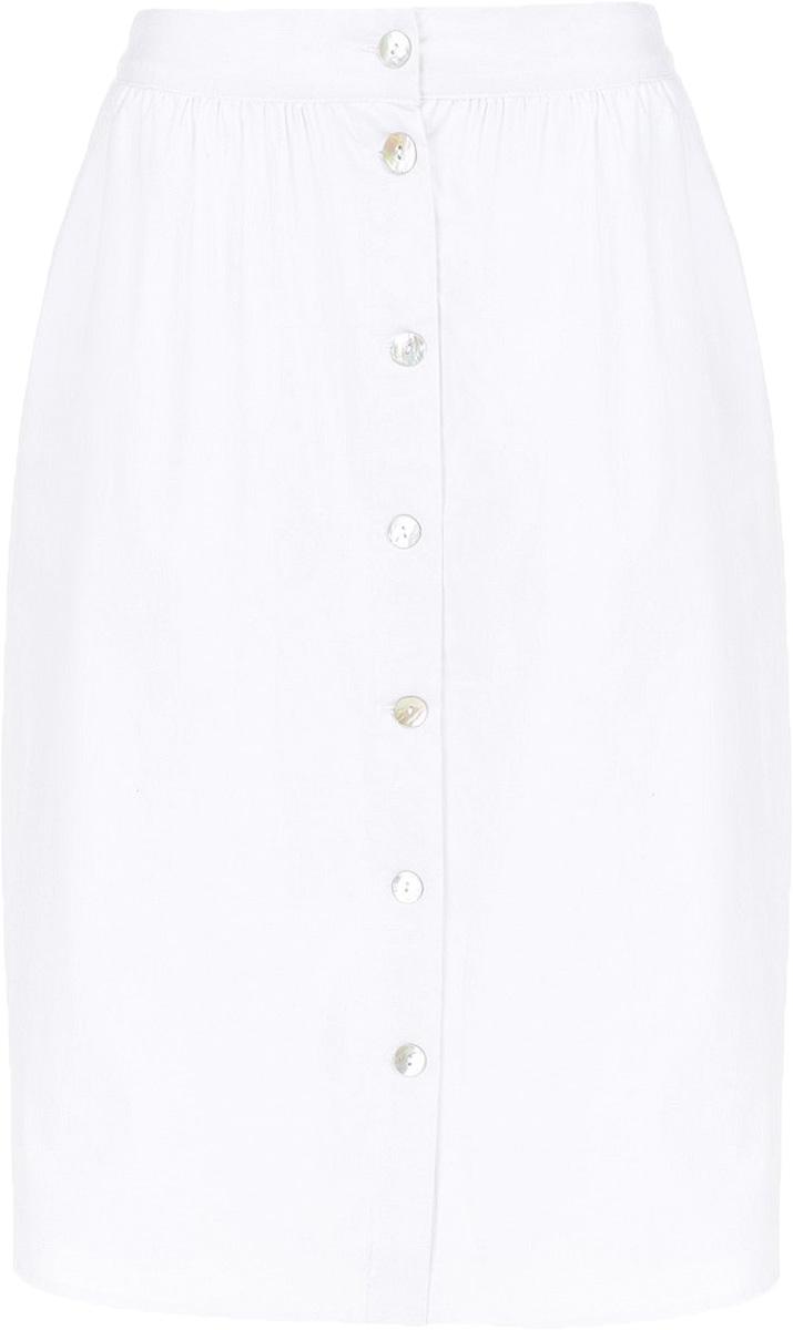 Юбка Baon, цвет: белый. B477033_White. Размер S (44)B477033_WhiteЮбка Baon выполнена из хлопка и эластана. Модель застегивается на пуговицы.