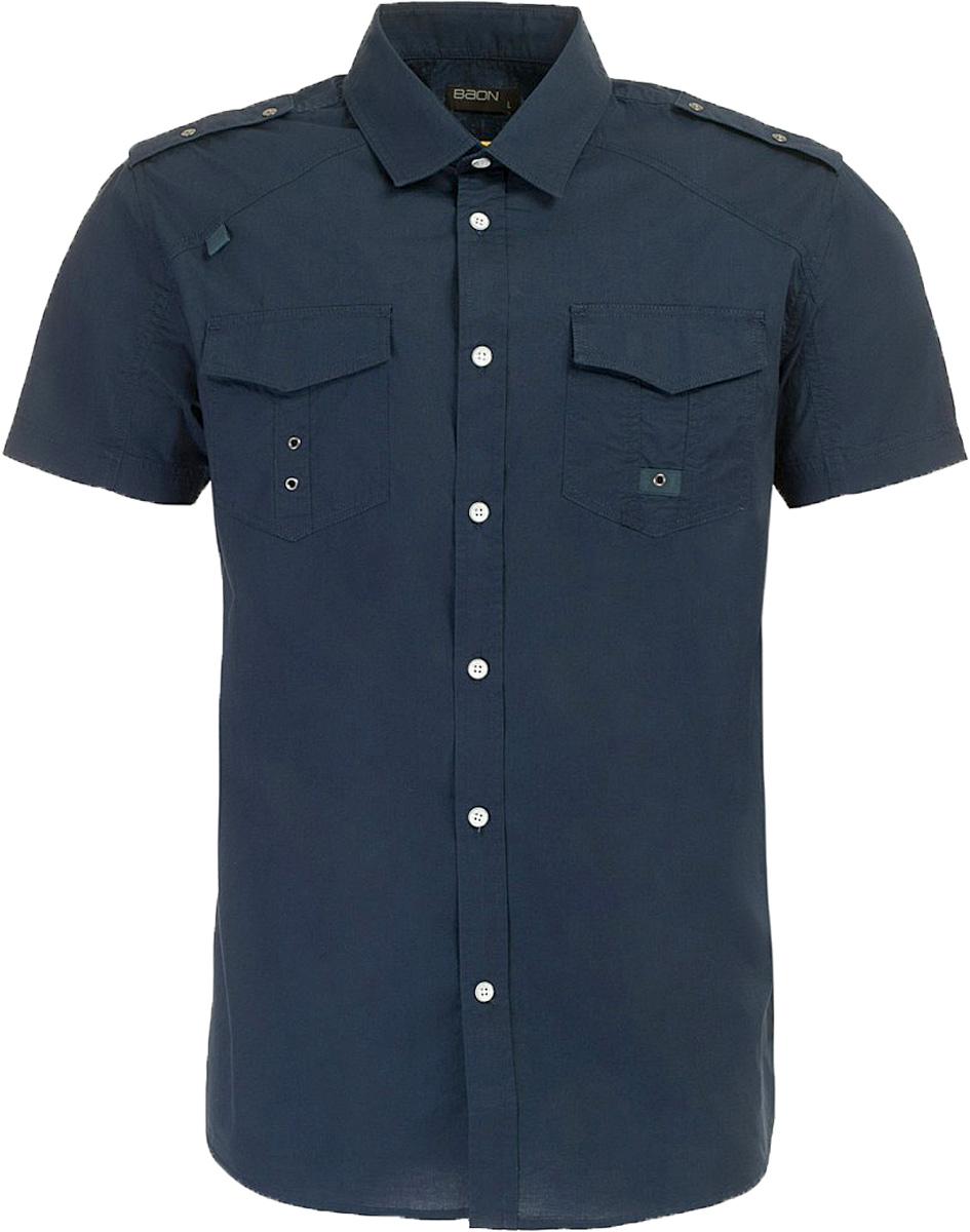 Рубашка мужская Baon, цвет: синий. B687006_Deep Navy. Размер XL (52)B687006_Deep NavyРубашка мужская Baon выполнена из натурального материала. Модель с отложным воротником и короткими рукавами застегивается на пуговицы.