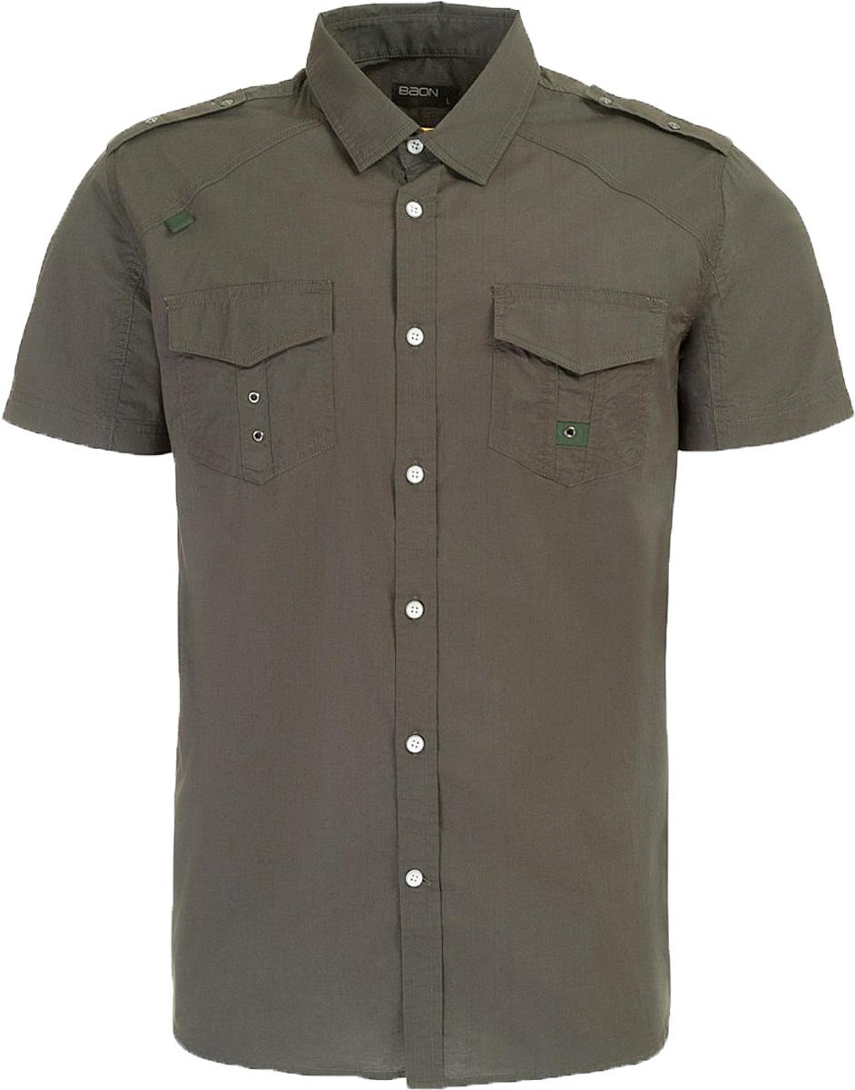 Рубашка мужская Baon, цвет: зеленый. B687006_Wild Ivy. Размер XXL (54)B687006_Wild IvyРубашка мужская Baon выполнена из натурального материала. Модель с отложным воротником и короткими рукавами застегивается на пуговицы.