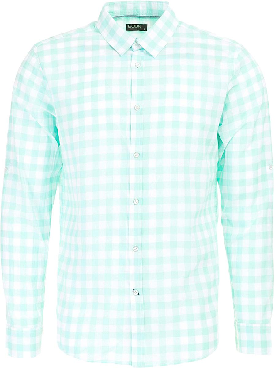 Рубашка мужская Baon, цвет: зеленый. B667011_Ice Green Checked. Размер L (50)B667011_Ice Green CheckedРубашка мужская Baon выполнена из натурального материала. Модель с отложным воротником и длинными рукавами застегивается на пуговицы.