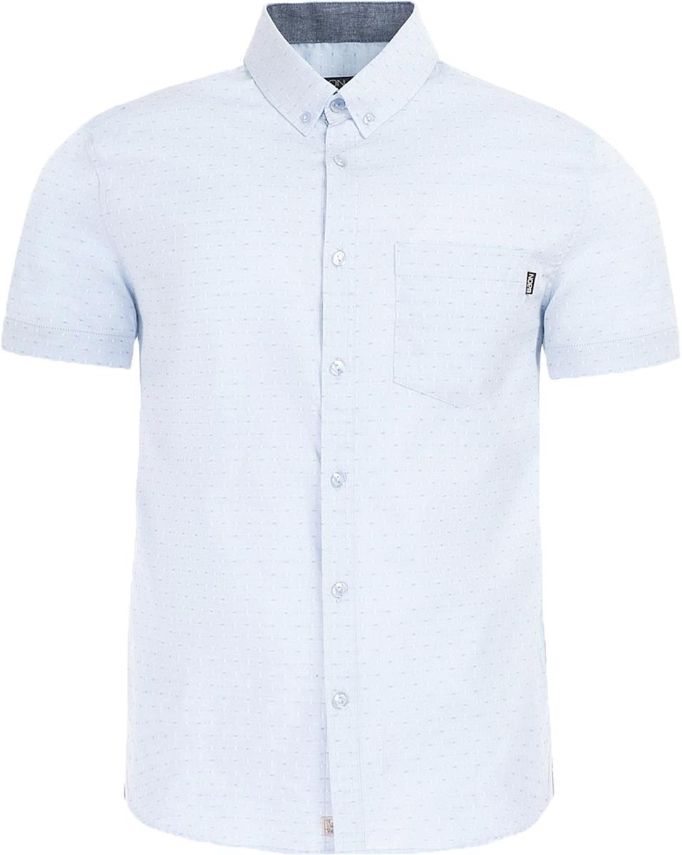 Рубашка мужская Baon, цвет: голубой. B687004_Blizzard. Размер M (48)B687004_BlizzardРубашка мужская Baon выполнена из натурального материала. Модель с отложным воротником и короткими рукавами застегивается на пуговицы.