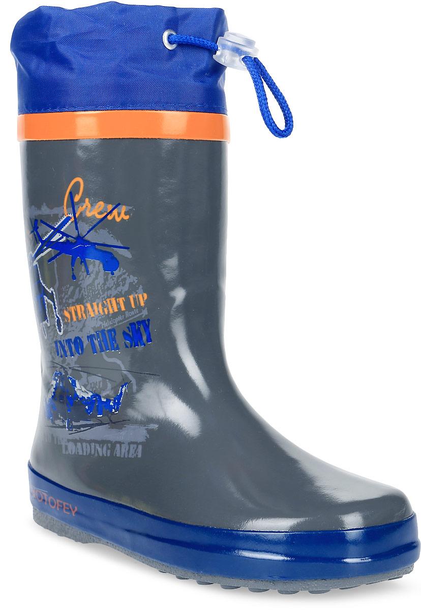 Сапоги резиновые для мальчика Котофей, цвет: серый, синий. 566104-11. Размер 30566104-11Резиновые сапоги от Котофей - идеальная обувь в холодную дождливую погоду для вашего мальчика. Сапоги выполнены из высококачественной резины. Боковая сторона голенища оформлена оригинальным принтом. Подкладка и стелька из текстиля обеспечат комфорт. Текстильный верх голенища регулируется в объеме за счет шнурка со стоппером. Подошва дополнена рифлением.