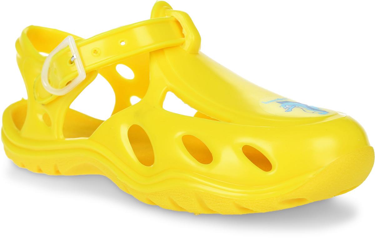 Сандалии для девочки Котофей, цвет: желтый. 326003-04. Размер 24/25326003-04Модные сандалии для девочки от Котофей полностью выполнены из резины. Ремешок с пряжкой надежно зафиксирует модель на ноге. Подошва дополнена рифлением.