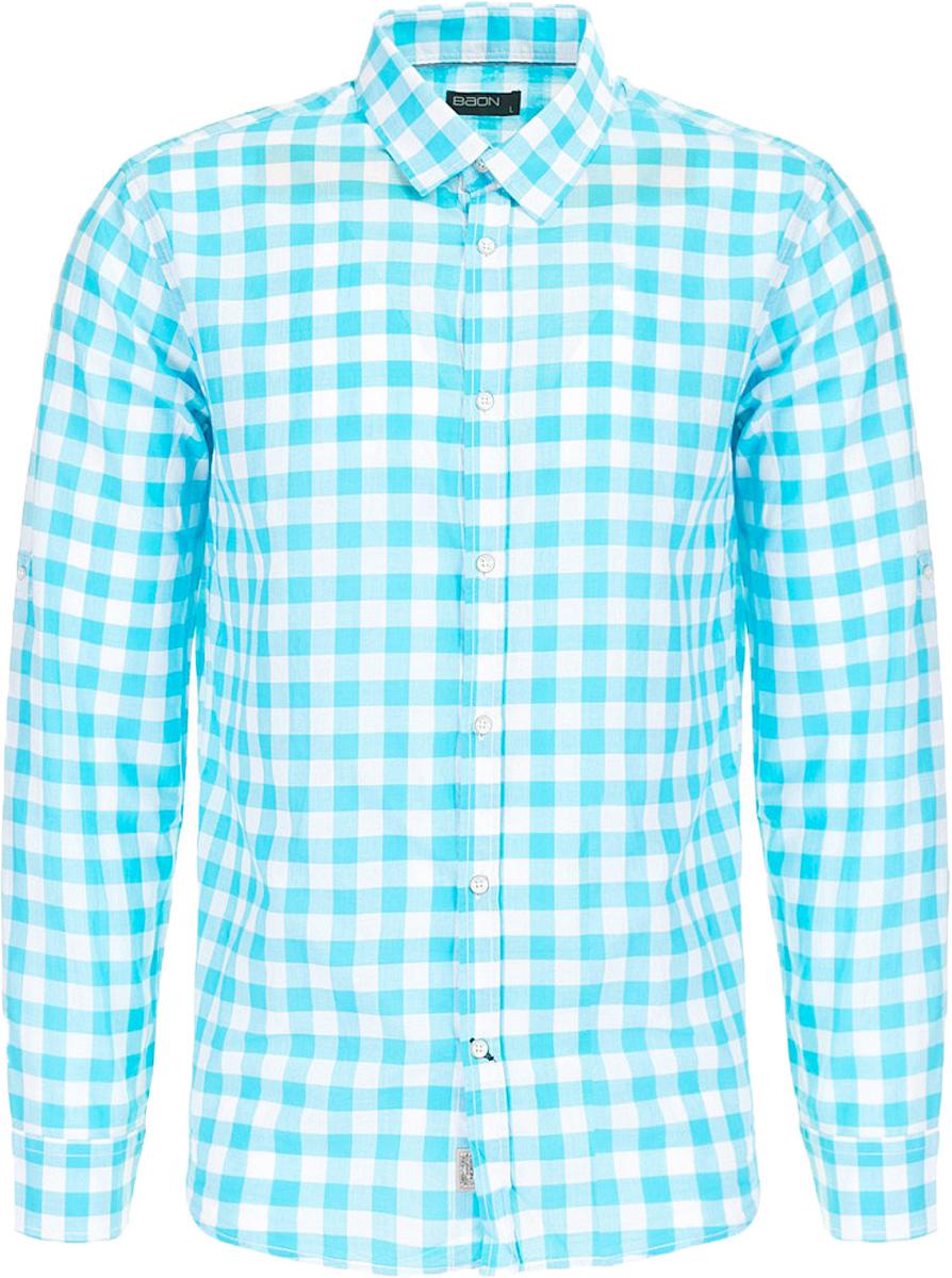 Рубашка мужская Baon, цвет: голубой. B667011_Caribbean Sea Checked. Размер M (48)B667011_Caribbean Sea CheckedРубашка мужская Baon выполнена из натурального материала. Модель с отложным воротником и длинными рукавами застегивается на пуговицы.