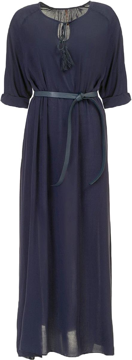 Платье Baon, цвет: темно-синий. B457100_Dark Navy. Размер L (48)B457100_Dark NavyПлатье Baon выполнено из вискозы. Модель с круглым вырезом горловины и рукавами 3/4.