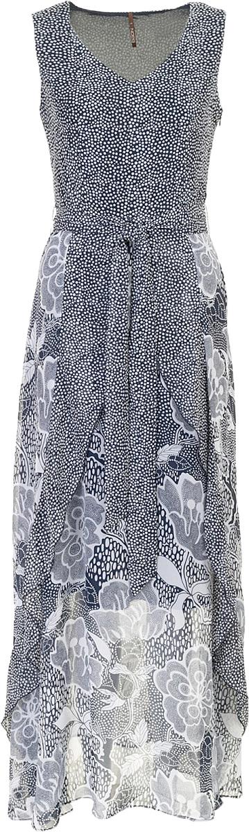Платье Baon, цвет: темно-синий. B457094_Dark Navy Printed. Размер L (48)B457094_Dark Navy PrintedПлатье Baon выполнено из полиэстера. Модель с V-образным вырезом оформлена оригинальным принтом.