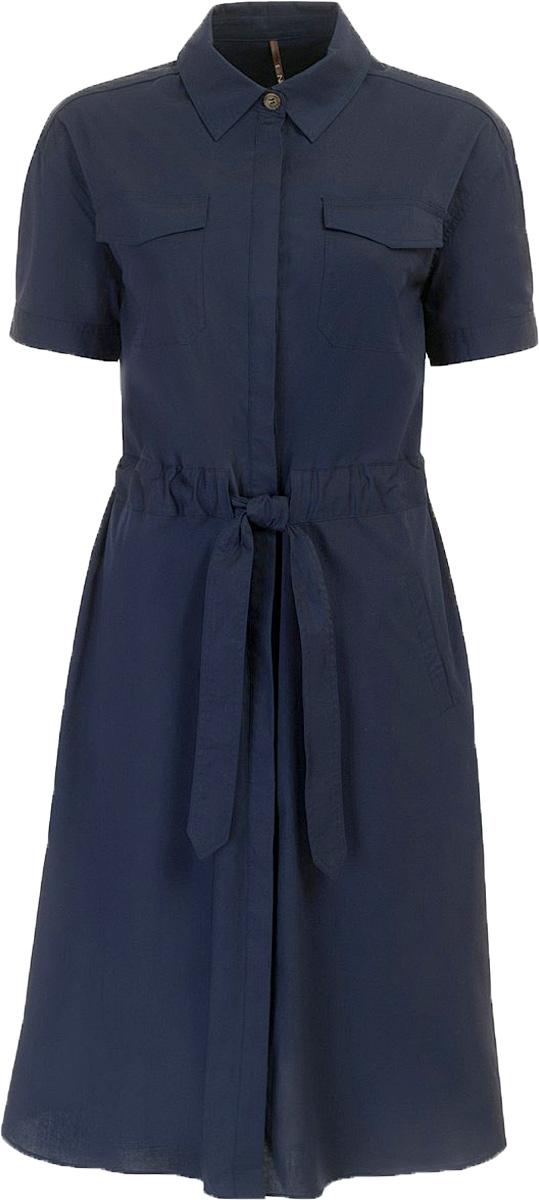 Платье Baon, цвет: темно-синий. B457067_Dark Navy. Размер M (46)B457067_Dark NavyПлатье Baon выполнено из хлопка и эластана. Изделие застёгивается на потайные пуговицы. Приталенный силуэт создается при помощи завязывающегося пояса, вставленного в широкую кулиску на талии. На груди и по бокам расположены карманы.