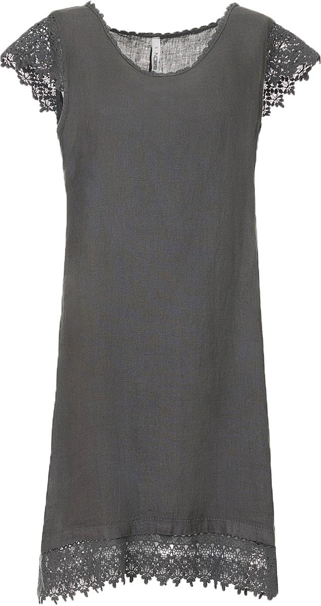 Платье Baon, цвет: серый. B457093_Asphalt. Размер S (44)B457093_AsphaltСвободное платье выполнено из натурального льняного полотна. Этот материал способен дышать и радовать вашу кожу своим охлаждающим эффектом. Рукава изделия выполнены из кружевного материала. Округлый вырез горловины и подол украшены кружевной каймой.