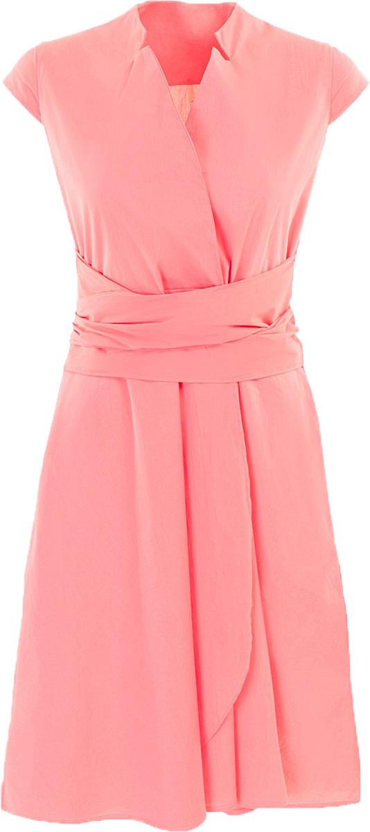 Платье Baon, цвет: розовый. B457084_Pieplant. Размер L (48)B457084_PieplantПлатье Baon выполнено из хлопка, эластана и полиамида. Изделие имеет вшитый широкий пояс, который можно драпировать вокруг талии любым понравившимся способом. Платье не имеет застёжки. По бокам расположено два кармана.