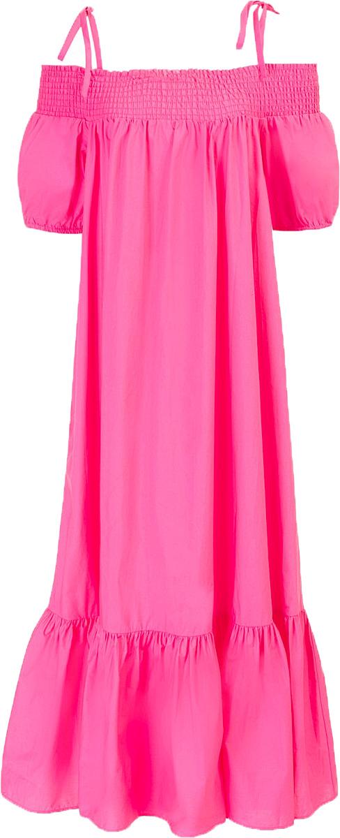 Платье Baon, цвет: розовый. B457058_Pale Magenta. Размер L (48)B457058_Pale MagentaПлатье Baon выполнено из натурального хлопка. Изделие имеет эластичный верх, который можно носить актуальным способом - с открытыми плечами. Верх дополнен завязывающимися бретелями.