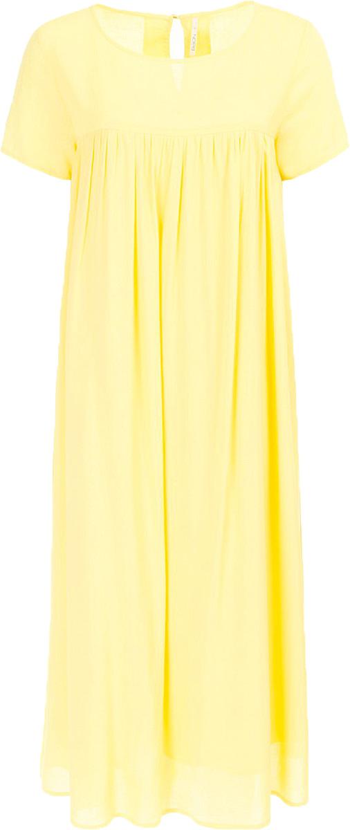 Платье Baon, цвет: желтый. B457074_Bright Yellow. Размер M (46)B457074_Bright YellowПлатье Baon выполнено из комбинированного материала. Модель с круглым вырезом горловины и короткими рукавами.