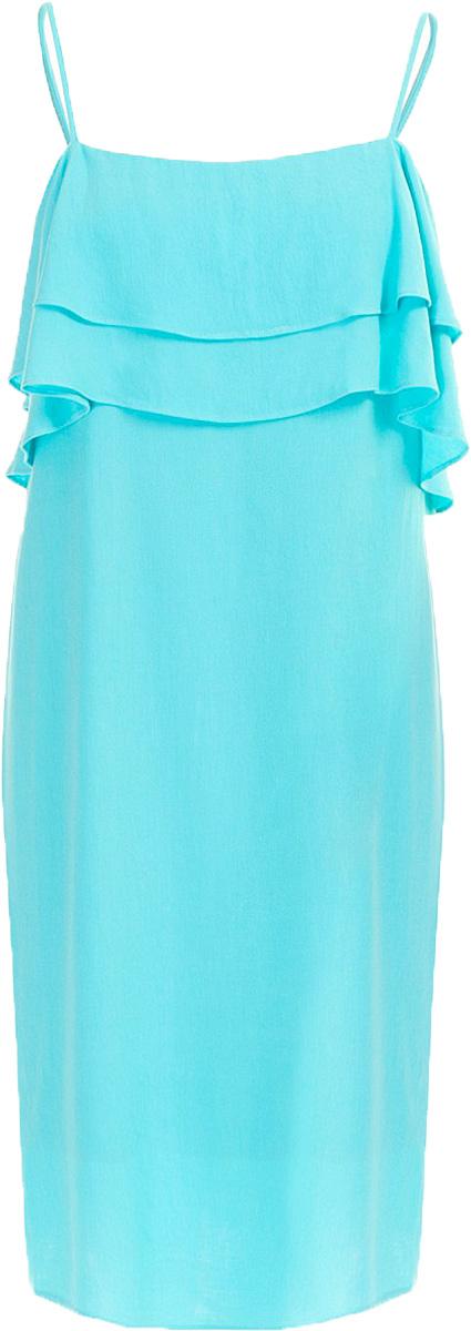 Сарафан Baon, цвет: голубой. B467011_Cloudless. Размер S (44)B467011_CloudlessМодный сарафан Baon имеет лаконичный дизайн: его верхняя часть украшена оборками. Изделие застёгивается на молнию на спине. Бретели регулируются по длине.