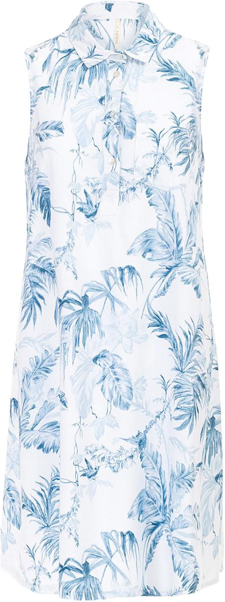 Платье Baon, цвет: голубой. B457097_Myosotis Printed. Размер S (44)B457097_Myosotis PrintedПлатье Baon выполнено из вискозы. Модель с отложным воротником застегивается на пуговицы.