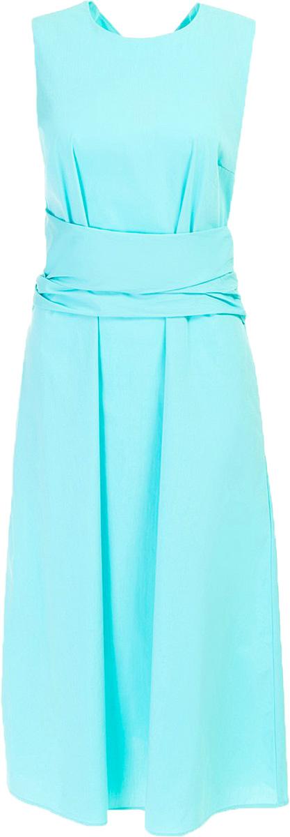 Платье Baon, цвет: голубой. B457082_Cloudless. Размер M (46)B457082_CloudlessПлатье Baon выполнено из хлопка, эластана и полиамида. Модель без рукавов с круглым вырезом горловины.