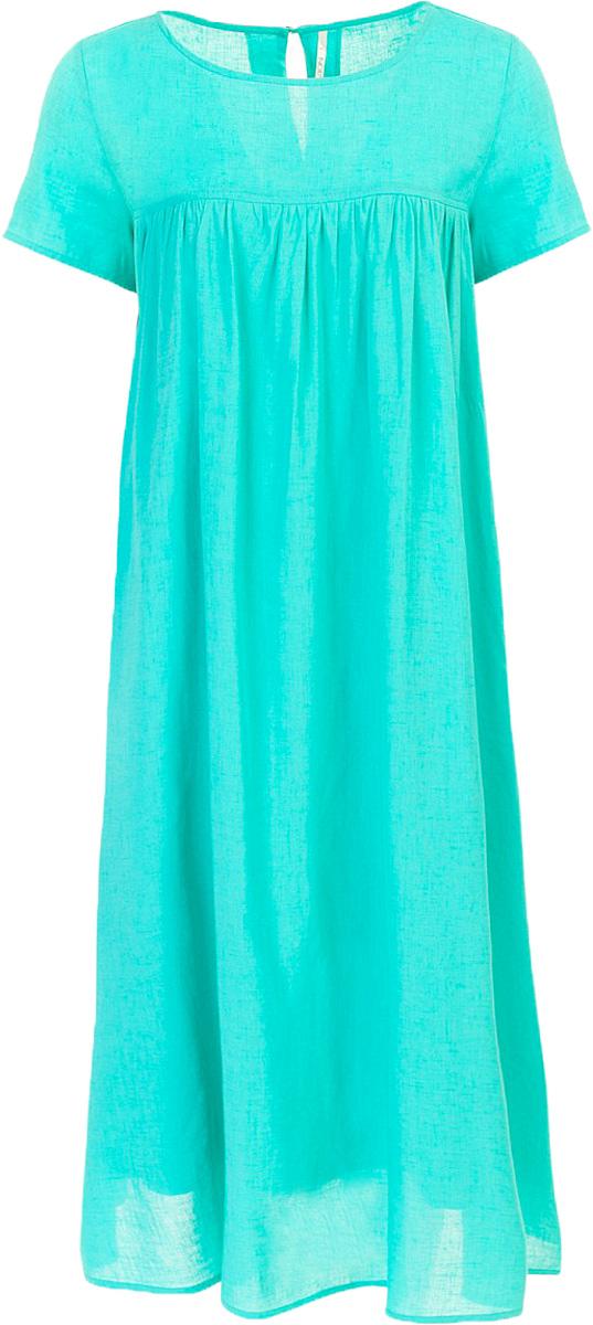 Платье Baon, цвет: голубой. B457074_Turquoise. Размер S (44)B457074_TurquoiseПлатье Baon выполнено из комбинированного материала. Модель с круглым вырезом горловины и короткими рукавами.