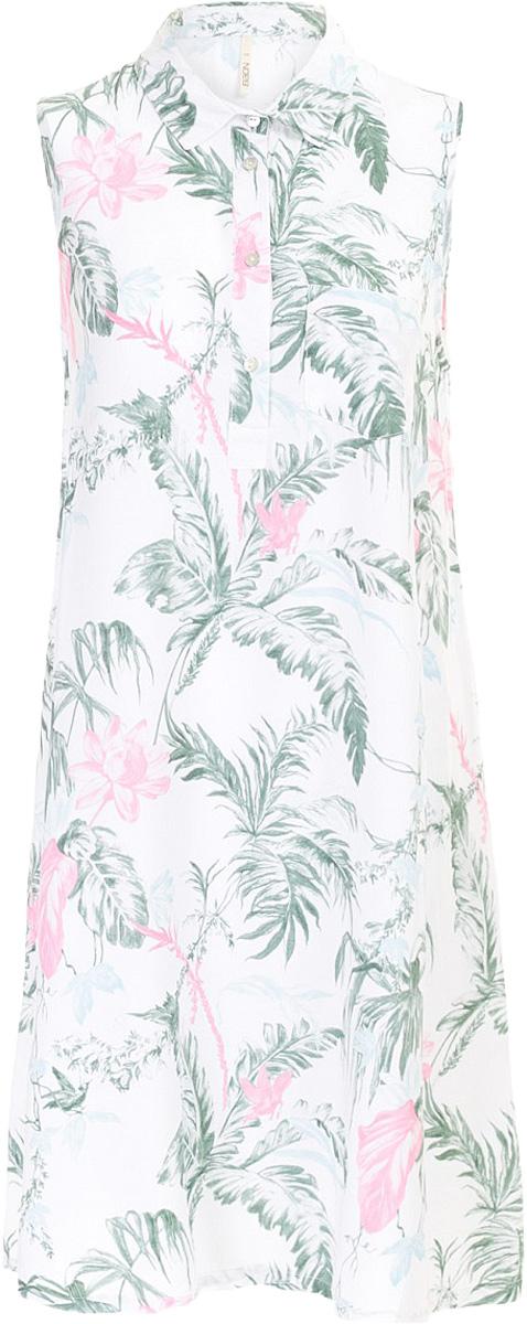 Платье Baon, цвет: белый. B457097_Milk Printed. Размер S (44)B457097_Milk PrintedПлатье Baon выполнено из вискозы. Модель с отложным воротником застегивается на пуговицы.