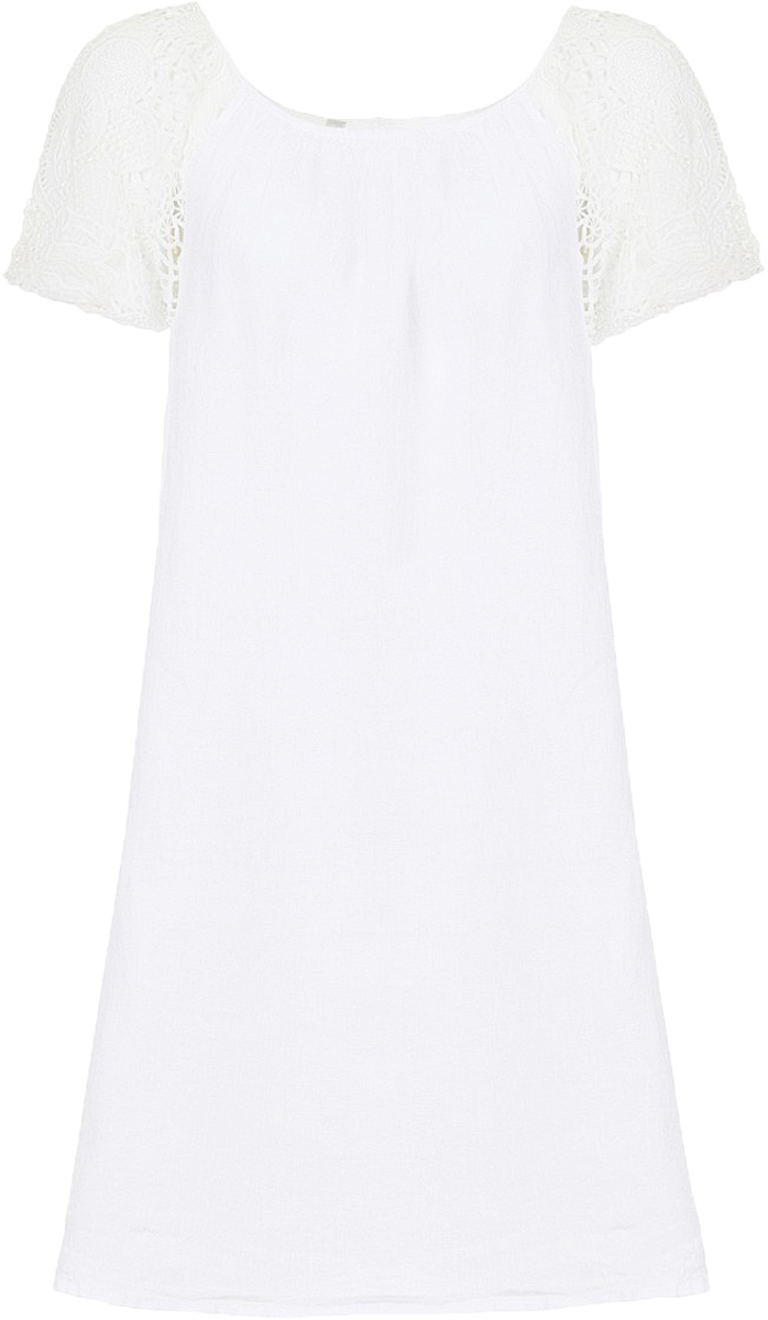 Платье Baon, цвет: белый. B457090_White. Размер M (46)B457090_WhiteСвободное платье выполнено из натурального льняного полотна - материала, способного дышать и радовать вашу кожу своим охлаждающим эффектом. Рукава изделия выполнены из гипюра. Застёжка на пуговицу расположена на спине.