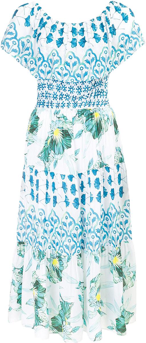 Платье Baon, цвет: белый. B457073_White Printed. Размер S (44)B457073_White PrintedПлатье Baon выполнено из вискозы. Изделие украшено комбинированным принтом с цветочными и геометрическими мотивами. Изделие имеет модные открытые плечи и приталенный силуэт, которые образуются за счёт эластичных вставок-резинок.