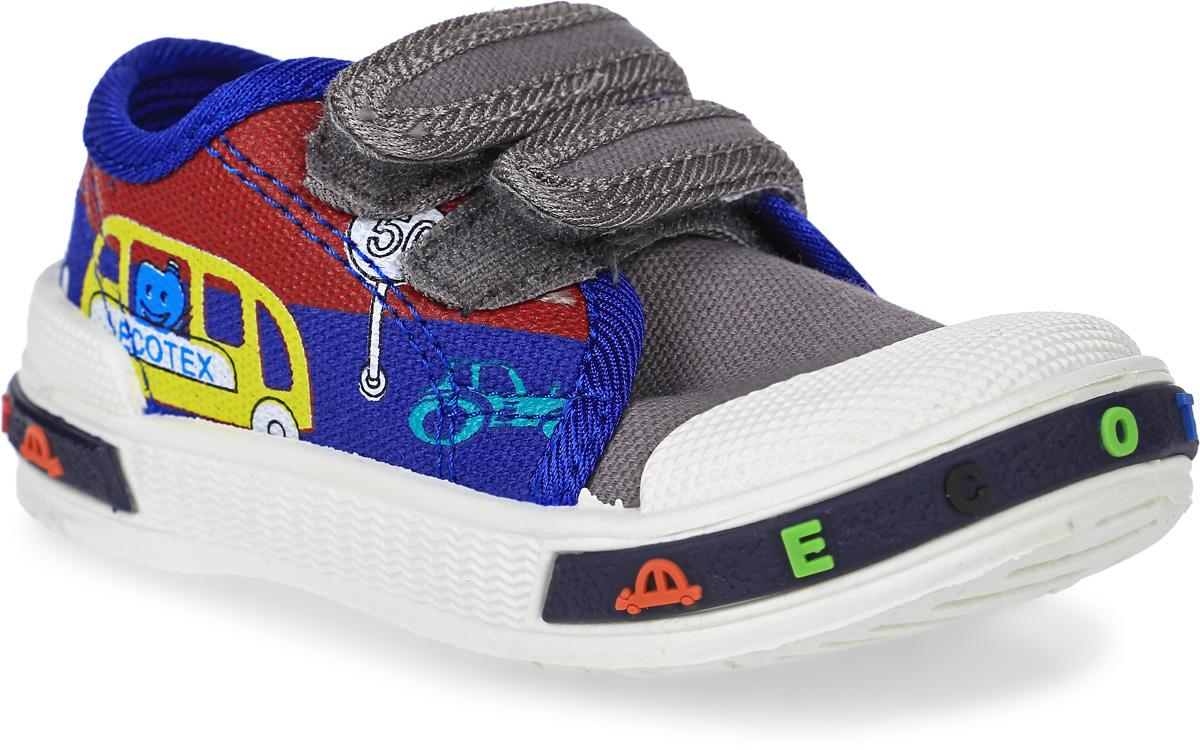 Кеды детские ЭкоТекс, цвет: синий, серый. 1-096TF. Размер 241-096TFКеды от ЭкоТекс выполнены из текстиля и дополнены на подъеме двумя ремешками на липучках. Оформлена модель оригинальным принтом. Жесткий задник, защищенный носок. Внутренняя поверхность изготовлена из текстильного материала, стелька с выдавленным анатомическим профилем стопы - из натуральной кожи. Легкая износостойкая литьевая подошва оснащена рельефным рисунком.