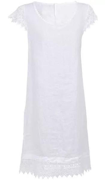 Платье Baon, цвет: белый. B457093_White. Размер S (44)B457093_WhiteСвободное платье выполнено из натурального льняного полотна. Этот материал способен дышать и радовать вашу кожу своим охлаждающим эффектом. Рукава изделия выполнены из кружевного материала. Округлый вырез горловины и подол украшены кружевной каймой.