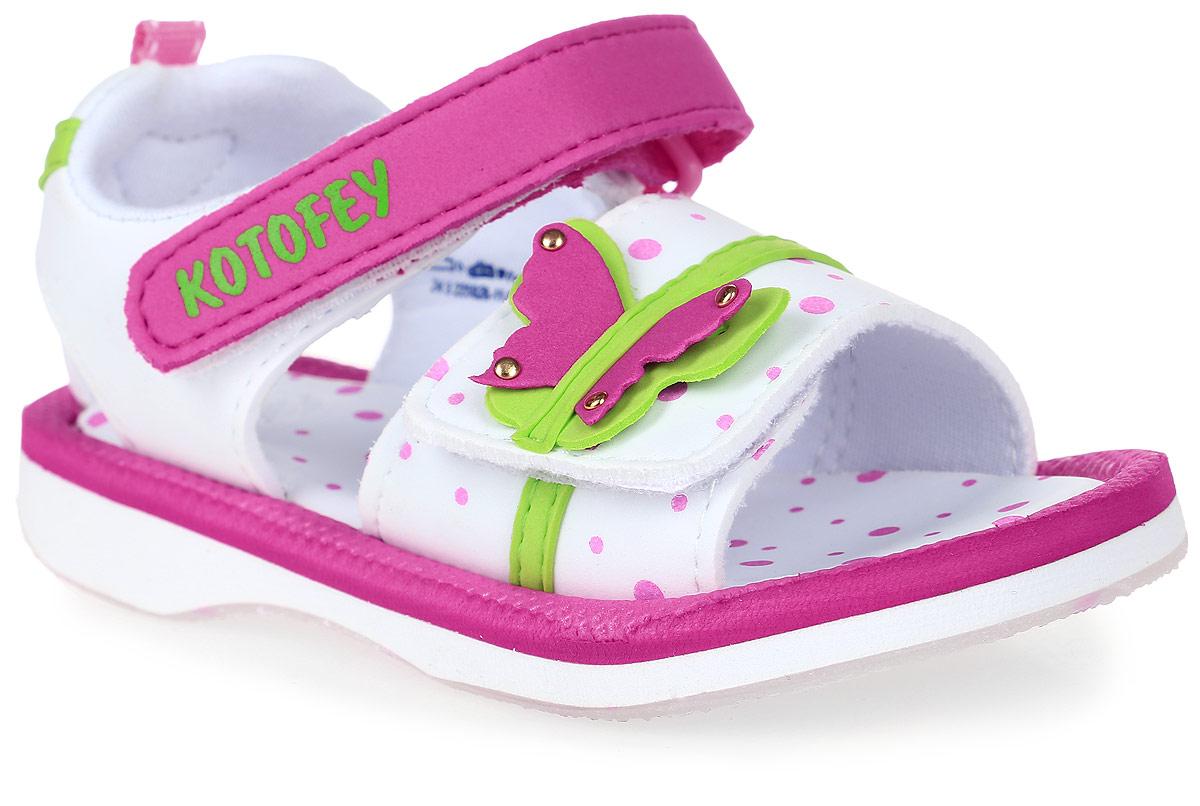 Сандалии для девочки Котофей, цвет: розовый, белый. 225026-11. Размер 24225026-11Модные сандалии для девочки от Котофей выполнены из материала ЭВА. Внутренняя поверхность из текстиля не натирает. Ремешки с застежками-липучками надежно зафиксируют модель на ноге. Стелька из материала ЭВА обеспечивает комфорт при движении. Подошва дополнена рифлением.