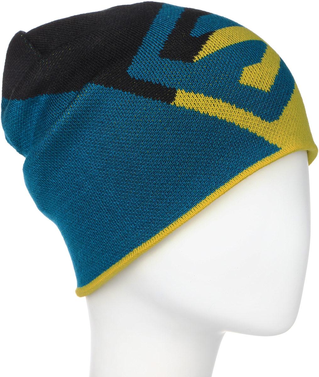 Шапка Salomon Flat Spin Reversible, цвет: черный, желтый, синий. L39046700. Размер универсальныйL39046700Спортивная двухсторонняя шапка Salomon Flat Spin Reversible выполнена из 100% акрила. Шапка оформлена вышивкой в виде логотипа Salomon. Внутренняя сторона шапки оформлена контрастным логотипом бренда в виде буквы S.Стильный дизайн и увеличенная длина этой двусторонней шапки делают ее идеальным выбором любителей фрирайда.