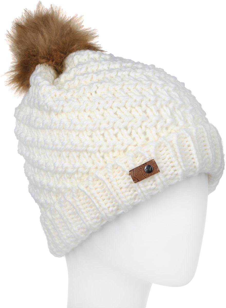 Шапка женская Roxy Blizzard Beanie, цвет: белый. ERJHA03096-WBS0. Размер универсальныйERJHA03096-WBS0Стильная женская шапка Roxy Blizzard Beanie дополнит ваш наряд и не позволит вам замерзнуть в холодное время года. Шапка выполнена акрила, что позволяет ей великолепно сохранять тепло и обеспечивает высокую эластичность и удобство посадки. Внутри - флисовая подкладка. Оформлена модель небольшим помпоном на макушке и нашивкой с логотипом бренда.Такая шапка составит идеальный комплект с модной верхней одеждой!