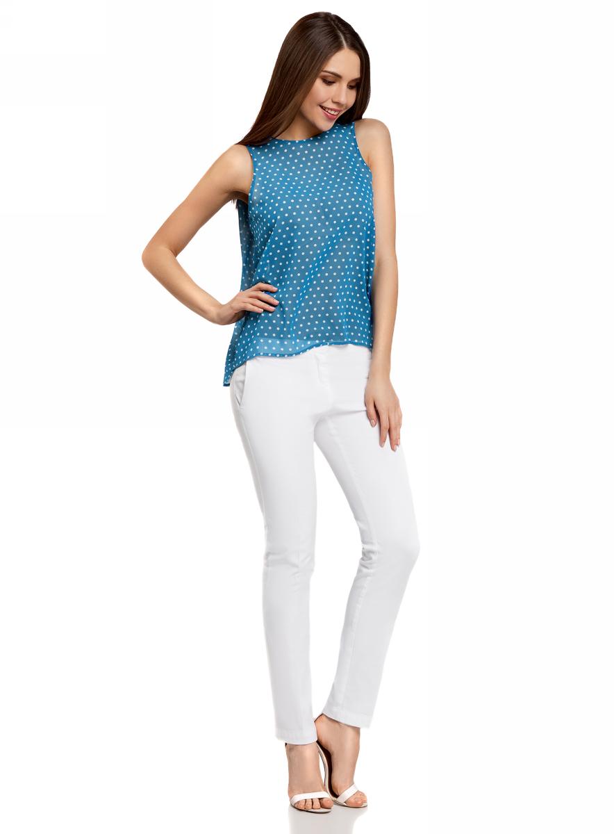 Блузка женская oodji Ultra, цвет: голубой, белый. 11411160/38375/7410D. Размер 42-170 (48-170)11411160/38375/7410DБлузка женская oodji Ultra выполнена из высококачественного материала. Модель с круглым вырезом горловины. Спинка блузки удлинена.