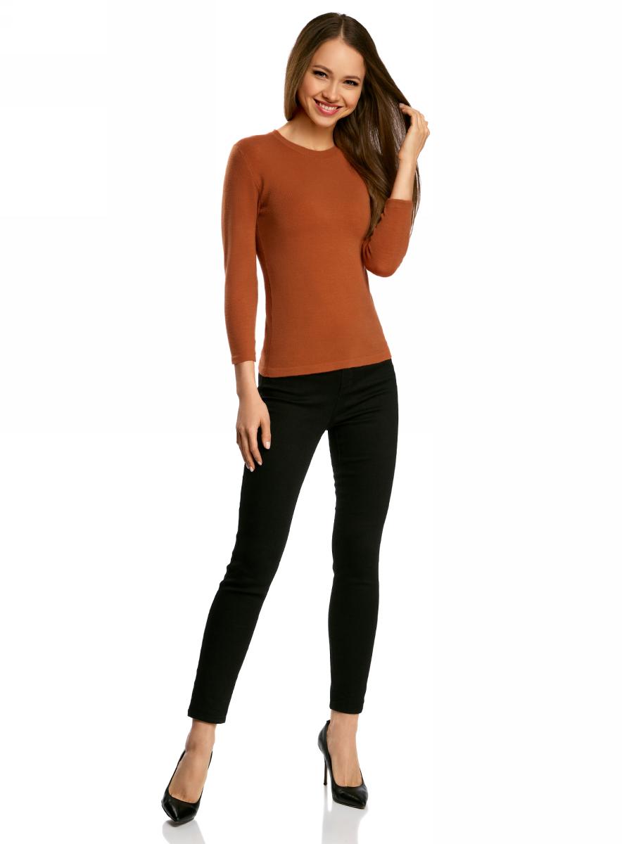 Джемпер женский oodji Ultra, цвет: темно-оранжевый. 63812579-1B/38149/5900N. Размер XXS (40)63812579-1B/38149/5900NДжемпер oodji изготовлен из качественного смесового материала. Модель выполнена с круглым вырезом и рукавами 3/4.