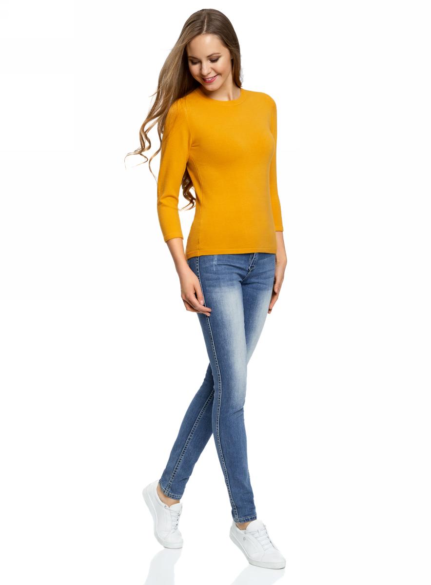 Джемпер женский oodji Ultra, цвет: желтый. 63812579-1B/38149/5200N. Размер XS (42)63812579-1B/38149/5200NДжемпер oodji изготовлен из качественного смесового материала. Модель выполнена с круглым вырезом и рукавами 3/4.