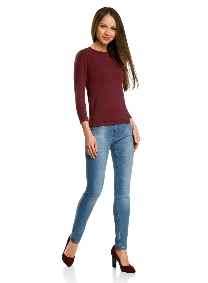 Джемпер женский oodji Ultra, цвет: бордовый. 63812579-1B/38149/4900N. Размер XXS (40)63812579-1B/38149/4900NДжемпер oodji изготовлен из качественного смесового материала. Модель выполнена с круглым вырезом и рукавами 3/4.