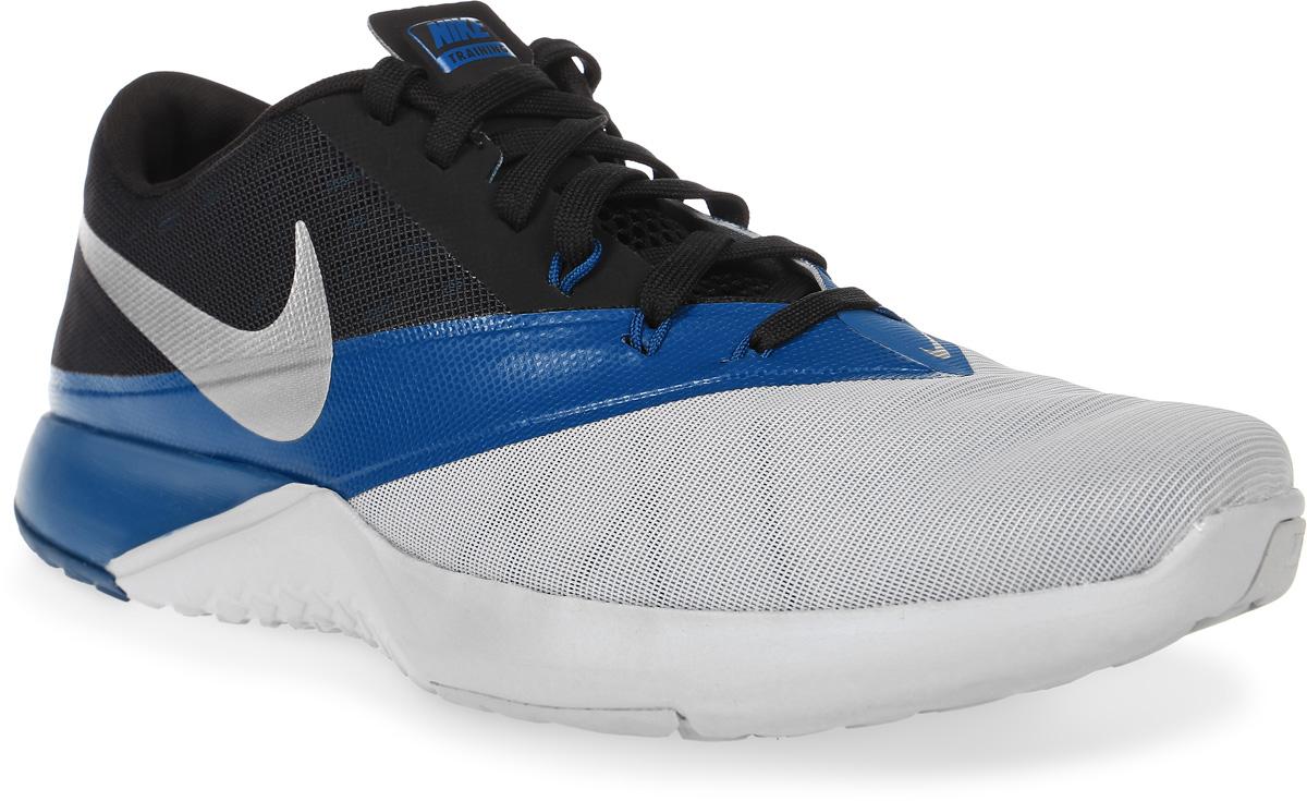 Кроссовки для фитнеса мужские Nike FS Lite Trainer 4, цвет: серый, синий, черный. 844794-006. Размер 11,5 (46)844794-006Мужские кроссовки для фитнеса FS Lite Trainer 4 от Nike выполнены из текстиля и дополнены бесшовными накладками из ПВХ. Технология Flywire с рисунком Звенья цепи обеспечивает надежную фиксацию. Подкладка и стелька из текстиля комфортны при движении. Шнуровка надежно зафиксирует модель на ноге. Подошва из материала двойной плотности обеспечивает амортизацию для боковых рывков. Резиновая подметка со специальными зонами и рельефным рисунком протектора обеспечивает сцепление с поверхностью.