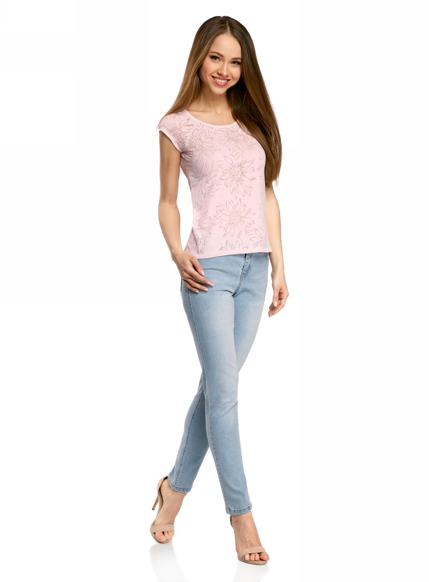 Футболка женская oodji Collection, цвет: светло-розовый. 24707002-2/18047/4000F. Размер L (48)24707002-2/18047/4000FЖенская футболка выполнена из фактурной ткани с коротким рукавом-реглан.