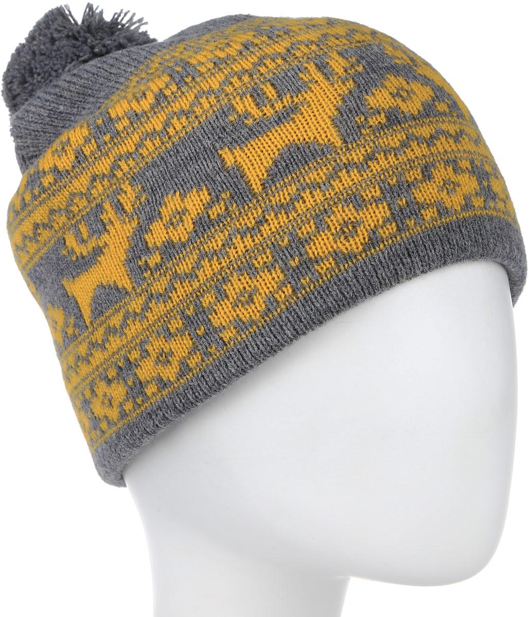 Шапка женская Finn Flare, цвет: светло-серый, желтый. W15-12124. Размер 56W15-12124Все, что нужно не только для того, чтобы согреться, но и для дополнения модного образа - это замечательная шапка Finn Flare. Модель двойной плотной вязки, полушерстяная, отлично дополнит ваш образ в холодную погоду. Шапочка оформлена вязаным орнаментом с оленями и помпоном. Декорирована небольшим элементом в виде металлической пластины с названием бренда.Такая шапка составит идеальный комплект с модной верхней одеждой, в ней вам будет уютно и тепло!