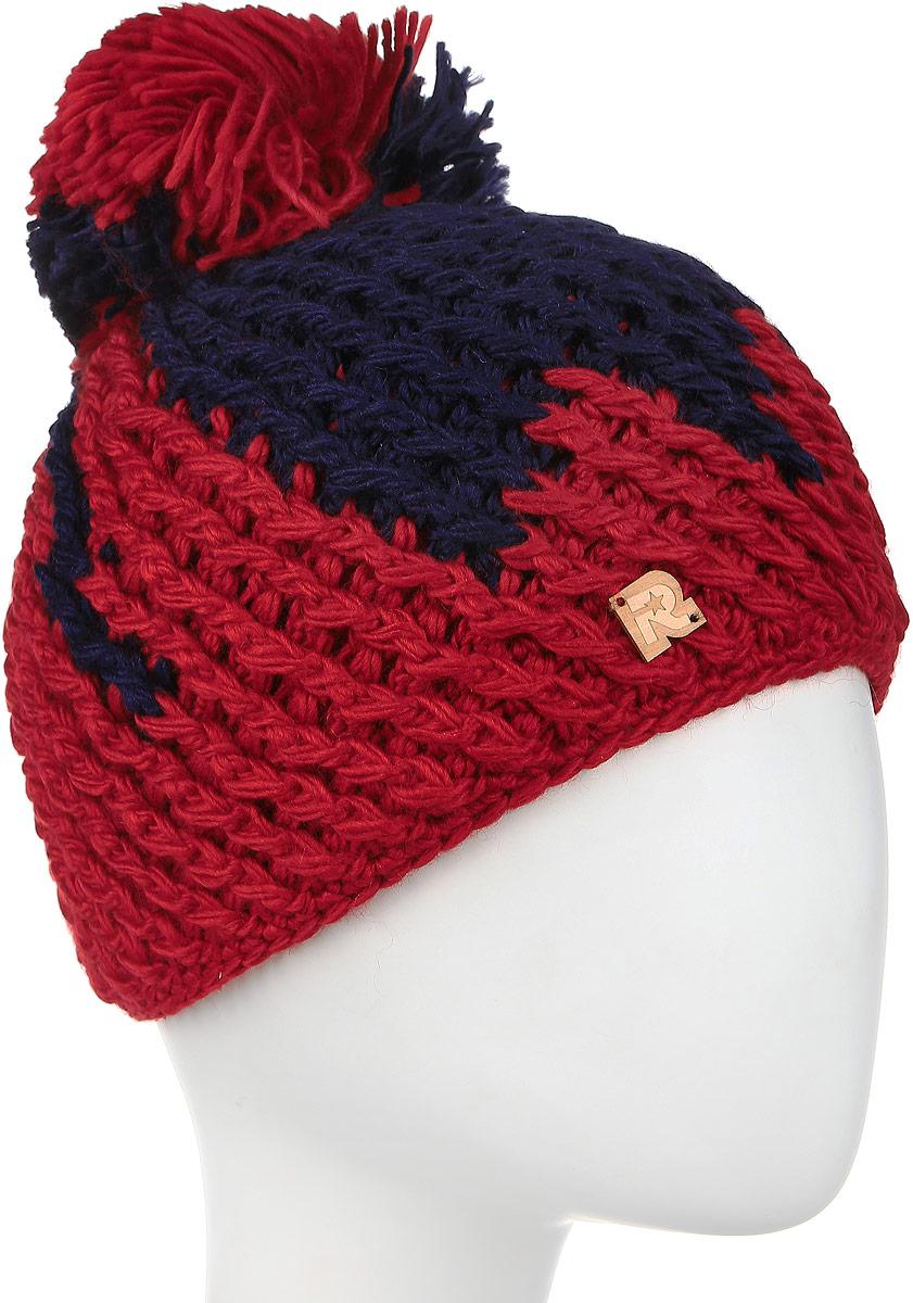 Шапка женская R.Mountain, цвет: красный, темно-синий. ICE 8166. Размер 54/6177-071-18-00Теплая вязаная женская шапка R.Mountain идеально подойдет на каждый день.Модель крупной вязки выполнена из натуральной шерстяной и мягкой акриловой пряжи, что позволяет ей великолепно сохранять тепло и обеспечивает высокую эластичность. С изнаночной стороны - мягкая плюшевая подкладка для усиленной защиты от холода и ветра. Шапка оформлена фактурной вязкой, пушистым помпоном и декорирована деревянным ярлычком в виде логотипа бренда.Такая шапка отлично подойдет для зимних прогулок и развлечений, и поднимет настроение вам и окружающим в будни.