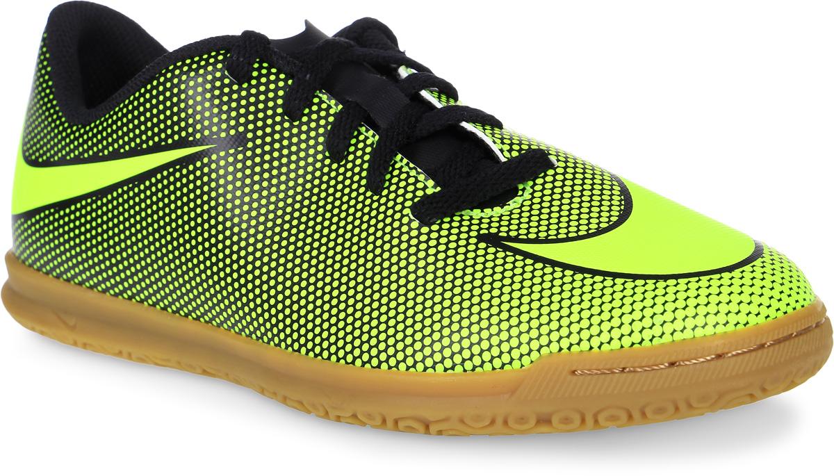 Кроссовки для мальчика Nike Bravata Ii Ic, цвет: черный, желтый. 844438-070. Размер 4,5 (36)844438-070Модные кроссовки для мальчика Bravata Ii Ic от Nike выполнены из искусственной кожи. Подкладка и стелька из текстиля обеспечивают комфорт. Шнуровка надежно зафиксирует модель на ноге. Подошва дополнена рифлением.
