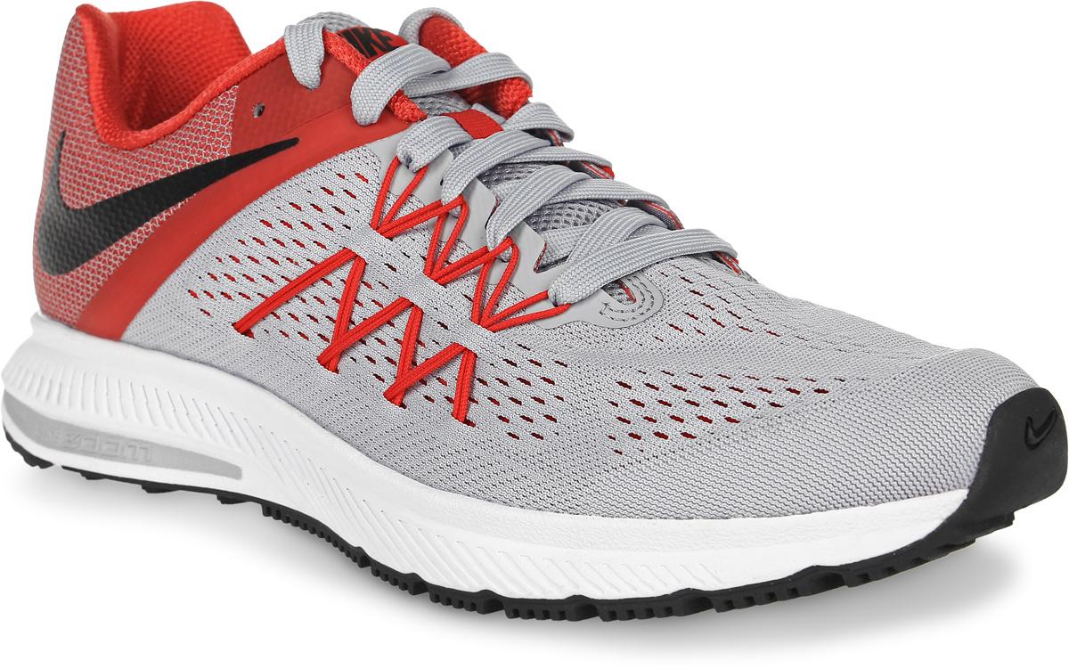 Кроссовки для бега мужские Nike Zoom Winflo 3, цвет: светло-серый, красный. 831561-008. Размер 9 (42)831561-008Кроссовки для бега Zoom Winflo 3 от Nike выполнены из сетчатого текстиля. Обновленный верх из особой сетки с технологией Flywire для плотной посадки и воздухопроницаемости. Бесшовная конструкция повышает уровень комфорта в движении. Подкладка из текстиля комфортна при движении. Литая стелька обеспечивает дополнительную поддержку. Технология Zoom и подошва Cushlon обеспечивают оптимальную амортизацию и смягчают ударные нагрузки.