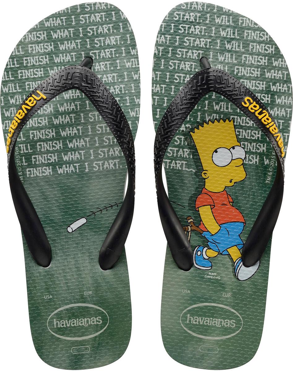 Сланцы Havaianas Simpsons, цвет: серый. 41378893498. Размер 41/42 (42/43)41378893498Модные сланцы Simpsons от Havaianas прекрасно подойдут для похода в бассейн или на пляж. Верх модели, выполненный из резины, оформлен рельефным орнаментом и названием бренда. Ремешки с перемычкой гарантируют надежную фиксацию модели на ноге. Подошва выполнена из материала ЭВА. Рифление на верхней поверхности подошвы предотвращает выскальзывание ноги. Рельефное основание подошвы обеспечивает уверенное сцепление с любой поверхностью.