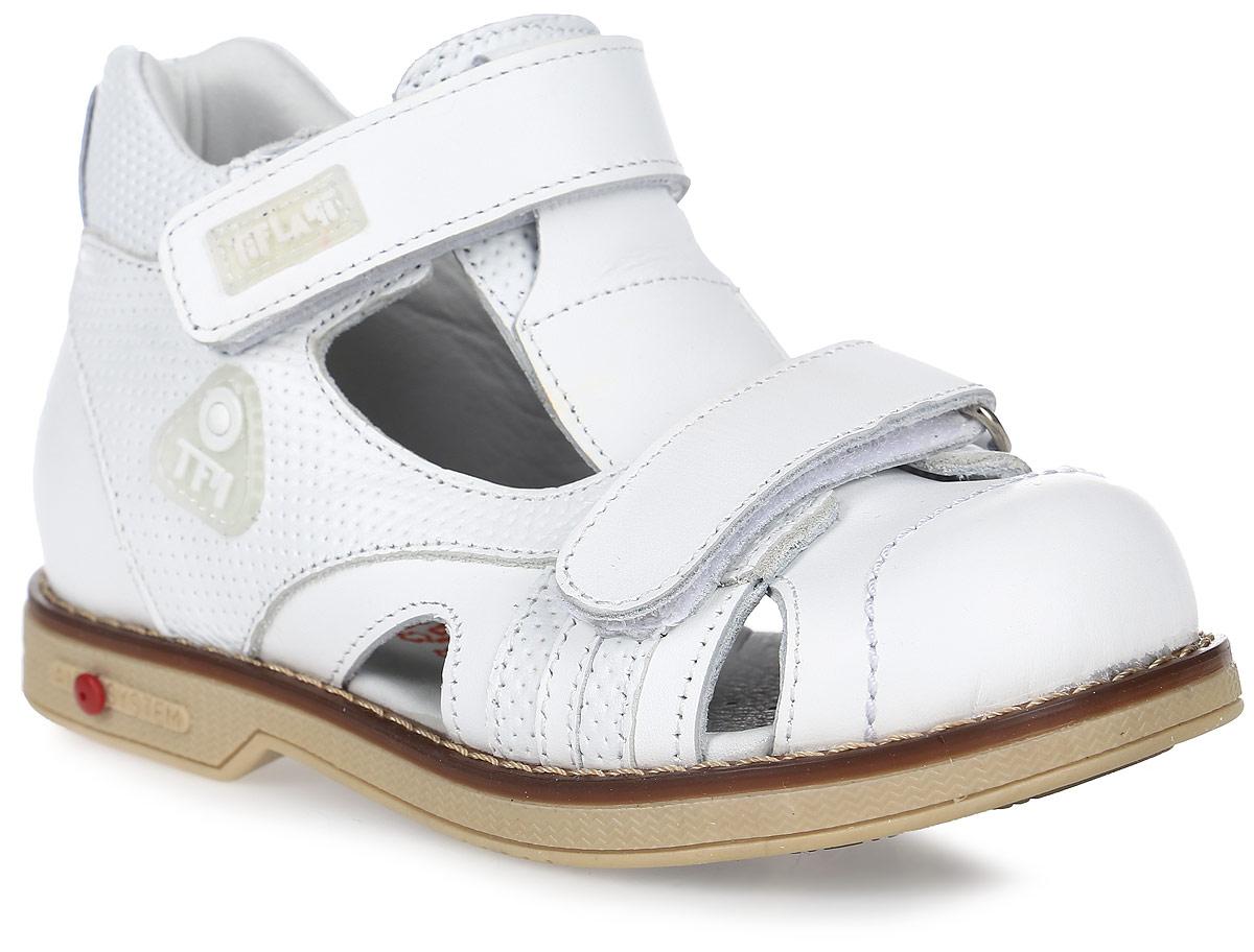 Сандалии для мальчика Tiflani, цвет: белый. 22P 0505/07. Размер 3022P 0505/07Детские сандалии для мальчиков от Tiflani, выполненные из высококачественных натуральных материалов, не только гарантируют удобство, но и служат для создания оригинального образа. Модель оформлена ремешками с застежками-липучками, позволяющими регулировать обхват по размеру.Подошва обладает отличными теплопроводными свойствами, гибкостью и износостойкостью. Каждое движение в этой обуви приносит радость и удовольствие.