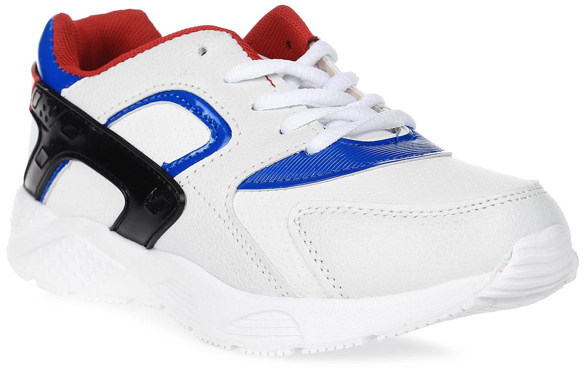 Кроссовки для мальчика Patrol, цвет: белый, синий. 967-637T-17s-01-10. Размер 34967-637T-17s-01-10Стильные кроссовки от Patrol - отличный выбор для вашего мальчика на каждый день. Верх модели выполнен из искусственной кожи и оформлен перфорацией и декоративной прострочкой. Шнуровка обеспечивает надежную фиксацию обуви на ноге. Подкладка и стелька из текстильного материала создают комфорт при носке. Подошва выполнена из легкого пенопропилена.Рифление на подошве обеспечивает отличное сцепление с любой поверхностью.Модные и комфортные кроссовки - необходимая вещь в гардеробе каждого ребенка.