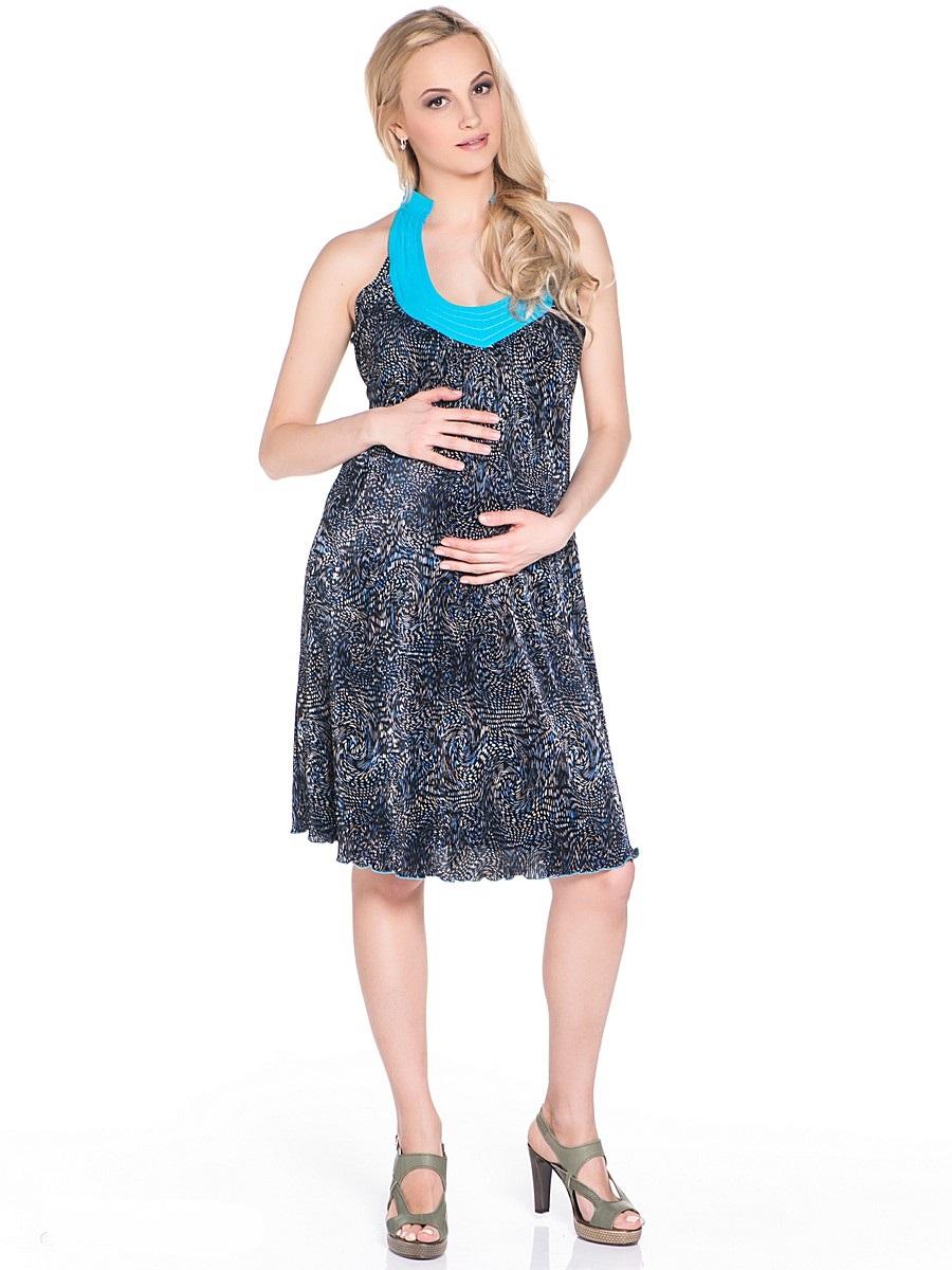 Платье для беременных 40 недель, цвет: голубой, черный. 303481. Размер 48303481Платье-сарафан для беременных от бренда 40 недель выполнено из гофрированной ткани с оригинальным вырезом по линии декольте. Модель свободного силуэта подойдет как для работы в офисе, так и на каждый день.