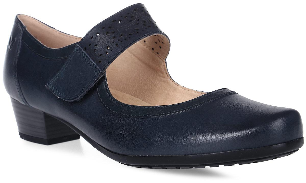 Туфли женские Caprice, цвет: синий. 9-9-24300-28-805/201. Размер 389-9-24300-28-805/201Стильные женские туфли на устойчивом каблуке выполнены из натуральной кожи. Модель на ноге фиксируется при помощи ремешка с застежкой-липучкой. Внутренняя поверхность и стелька, из текстиля и натуральной кожи обеспечат комфорт ногам. Подошва оснащена противоскользящим рифлением.