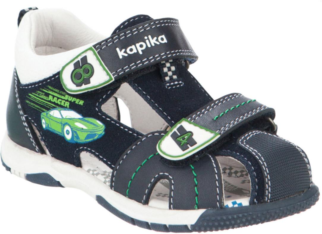 Сандалии для мальчика Kapika, цвет: темно-синий, белый. 32453к-2. Размер 2432453к-2Модные сандалии для мальчика от Kapika выполнены из натуральной и искусственной кожи. Ремешки с застежками-липучками надежно зафиксируют модель на ноге. Внутренняя поверхность и стелька из натуральной кожи обеспечат комфорт при движении. Подошва дополнена рифлением.