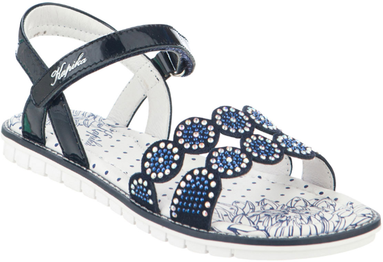 Сандалии для девочки Kapika, цвет: темно-синий. 33278-1. Размер 3233278-1Модные сандалии для девочки от Kapika выполнены из натуральной кожи разных фактур. Внутренняя поверхность и стелька из натуральной кожи обеспечат комфорт при движении. Ремешок с застежкой-липучкой надежно зафиксирует модель на ноге. Передние ремешки оформлены стразами. Подошва дополнена рифлением.