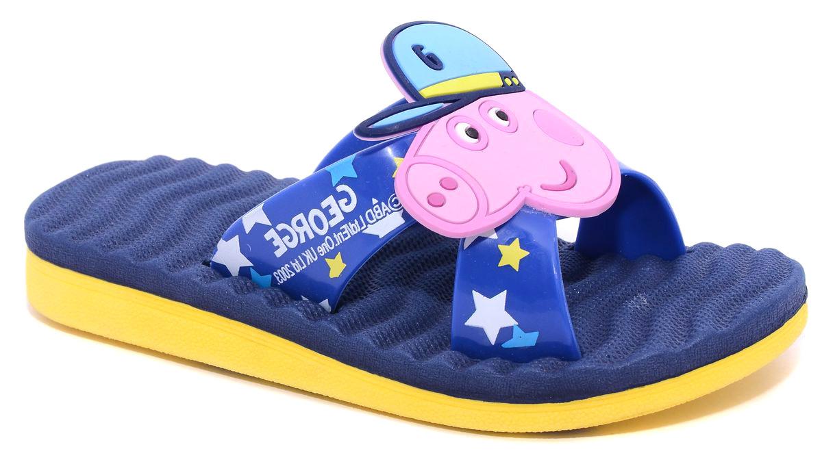 Шлепанцы для мальчика Kakadu Peppa Pig, цвет: синий, желтый, розовый. 6750B. Размер 306750BЯркие шлепанцы Peppa Pig от Kakadu придутся по душе вашему ребенку. Модель выполнена из резины и на ремешках оформлена накладкой в виде мордочки Свина Джорджа. Рифление на верхней поверхности подошвы предотвращает выскальзывание ноги. Подошва исполнена из ЭВА-материала. Материал ЭВА имеет пористую структуру, обладает великолепными теплоизоляционными и морозостойкими свойствами, придает обуви амортизационные свойства, мягкость при ходьбе, устойчивость к истиранию подошвы. Гибкая подошва дополнена рифлением, которое гарантирует идеальное сцепление с любыми поверхностями. Удобные шлепанцы прекрасно подойдут для похода в бассейн или на пляж.