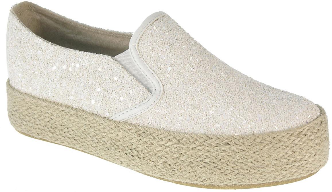 Слипоны женские Beppi, цвет: белый, серебряный. 2155821. Размер 372155821Стильные женские слипоны выполнены из высококачественного текстиля.На подъеме модель дополнена эластичными резинками для удобства надевания. Аккуратно смотрятся на ноге, комфортно носятся.