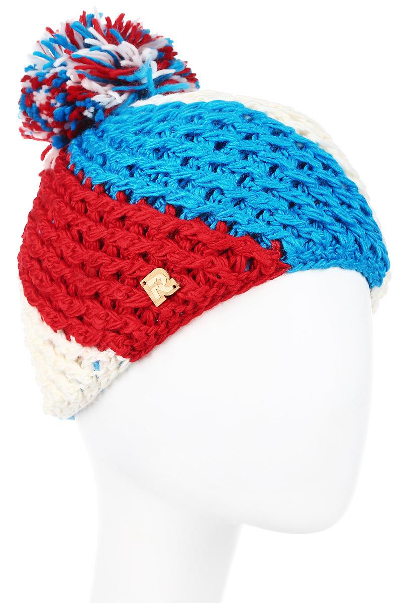Шапка R.Mountain, цвет: белый, голубой, красный. Размер 54/61ICE 8177Теплая вязаная шапка с помпоном цвета российского триколора R.Mountain идеально подойдет на каждый день.Патриотичная модель крупной вязки выполнена из натуральной шерстяной и мягкой акриловой пряжи, что позволяет ей великолепно сохранять тепло и обеспечивает высокую эластичность. Внутри шапки, по окружности, пришита мягкая плюшевая подкладка для усиленной защиты от холода и ветра. Шапка оформлена фактурной вязкой, помпоном из пряжи и декорирована деревянной эмблемой в виде логотипа бренда.Такая шапка станет модным и стильным дополнением вашего зимнего гардероба, а приятный на ощупь материал подарит ощущение тепла и комфорта.
