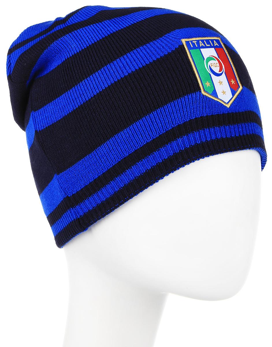 Шапка Puma Italia Beanie, цвет: голубой. 02100601. Размер 56/58021006_01Вязаная двухсторонняя шапка дарит комфорт и благодаря эластичному материалу - 100% акрил - и плотной вязке в резинку отличается особым удобством и идеальной посадкой. В этой шапке от Puma с вышитой эмблемой национальной сборной Италии по футболу вы не только не останетесь незамеченным, но и сможете поддержать любимую команду.