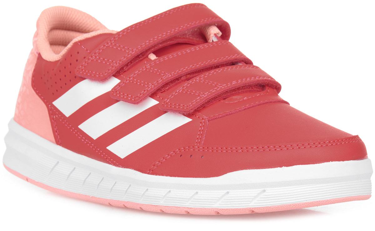 Кроссовки для девочки adidas AltaSport CF K, цвет: розовый, красный, белый. BA9531. Размер 5,5 (37,5)BA9531Удобные детские кроссовочки для активных игр и занятий. Легкий и прочный верх из искусственной кожи дополнен немаркой резиновой подошвой, которая идеально подходит для физкультуры в школьном зале. Ремешки на липучках для удобного снимания и надевания.
